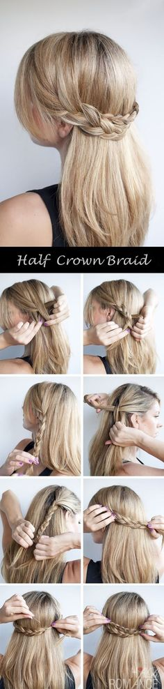 half crown braid tutorail with clip in cheap blonde hair extension