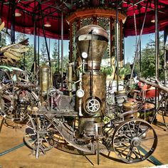 The smaller carousel ride at the Les Machines museum/experience Nantes France