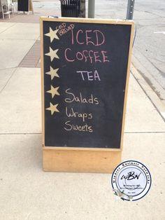 iced coffee, tea, salads, wraps Salad Wraps, Chalkboard Signs, Iced Coffee, Art Quotes, Brewing, Salads, Tea, Creative, Brow Bar
