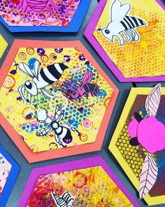 Buzz buzz . . . #2ndgrade #beehives #bees #mixedmedia #printmaking #bubblewrapprinting #sharpie #collage #hexagon #marshallelementaryart…