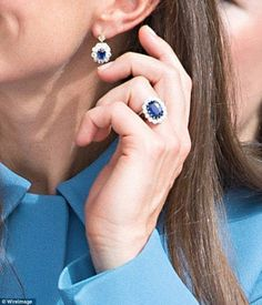 Her Royal Highness The Duchess of Cambridge's sapphires. Her engagement ring previously belonged to the late Princess of Wales, and the matching earrings are thought to be a modified version of those worn by Diana as well (although unconfirmed).