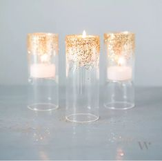 DIY Glitter Tea Lights - add a little sparkle to your reception tables