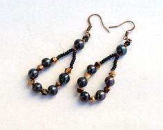 Long loop earrings with black pearls E1269 by Fleur-de-Irk
