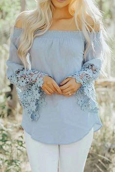 Light Blue Off Shoulder Flare Sleev Crochet Hem Blouse Top – ModeShe.com #blouse