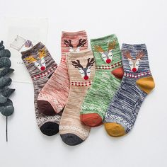 PEONFLY Cotton Trend Animal Sika deer Striped funny socks women & 5pais/lot sock hosiery