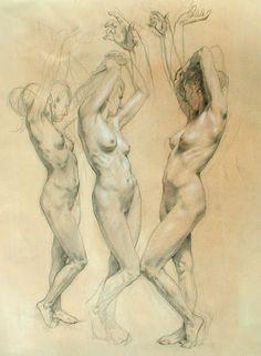 "Robert Liberace  Three Graces Chalk on paper -2007 38.1 x 55.88 cm (15"" x 22"")"