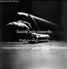 I was told committing suicide is an easy way to fix a temporary solution