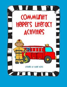 Community Helpers Literacy Activities and Centers! 80 pages!   Great addition to your Community Helpers unit or use as centers!  Includes vocabulary matching cards for games or pocketchart center, a printable emergent reader, many activities and printable that promote literacy, a writing activity, and large graphics to print for bulletin boards or posters.