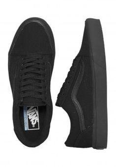 Vans - Old Skool Lite Canvas Black/Black - Girl Shoes http://bellanblue.com https://ladieshighheelshoes.blogspot.com/2016/11/holiday-sale.html
