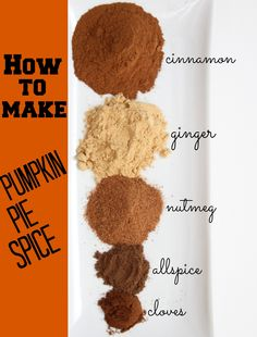 2 tablespoons Cinnamon 1 tablespoon ground ginger  2 tsp ground nutmeg 1/2 tsp allspice 1/2 tsp ground cloves