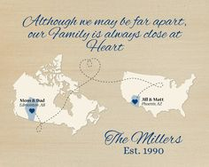 Long Distance Family Present, Moving Away Gift, Birthday Present Idea for Parents, Family Quote Print, Canada Map Art, United States Map Art