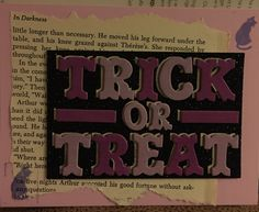 Halloween card - Trick or Treat with vintage book page.