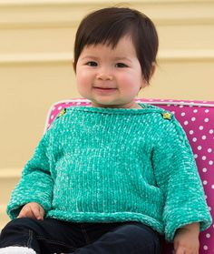 Simple & Soft Baby Pullover Free Knitting Pattern in Red Heart Yarns