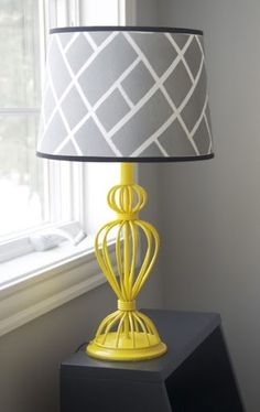 Patterned lampshade with a pop of color. Maybe grey and purple or teal
