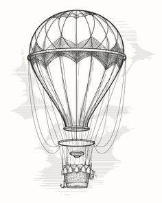 Retro hot air balloon sketch. $4.00