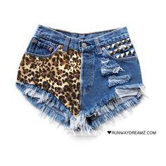 Sofia Vintage Leopard Panel Frayed Shorts ❤ liked on Polyvore