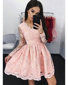 Elegant Pink Lace Homecoming Dresses Full Sleeve Lace Appliques Short Prom Party Gowns Cocktail Dress