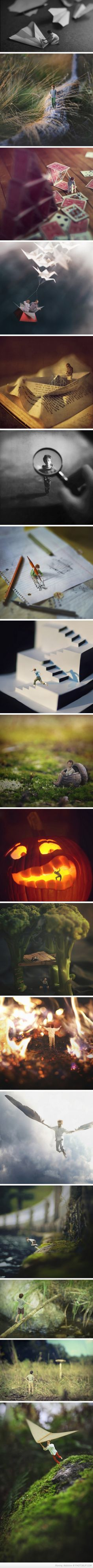 14 Year Old Photographers Surreal, Miniaturized Self Portraits<< idea for conceptual self portrait assignment