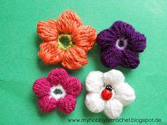 My hobby is crochet: 5 Petals Cluster Flower FREE PATTERN