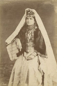 From the Endangered Archives blog post 'The Good Woman named Bonfils' Image: Young woman from Lebanon, albumin print, attributed to Lydie Bonfils (?), ca. 1876-85.