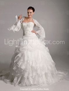 77ff3e3d1   349.99  Ball Gown Sweetheart Court Train Organza Tiered Wedding Dress  with Wrap