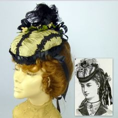 Reproduction of an 1860s bonnet from Harper's Bazaar BY SHARON PANOZZO  #millinery #hats #HatAcademy