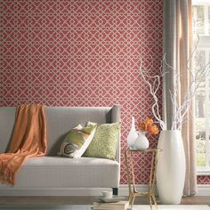 Artistic Twist Wallpaper in Coral design by York Wallcoverings Stripped Wallpaper, Red Wallpaper, Bathroom Wallpaper, Geometric Wallpaper, Pattern Wallpaper, Wallpaper Designs For Walls, Wallpaper Ideas, Waverly Wallpaper, Modern White Living Room