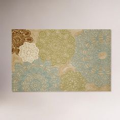 I know this is a rug, but take this idea, paint old vintage doilies that are stained already, I have lots, and mod podge to a canvas and hang on a wall, how cool would that be? Love the colors, I have to do this!