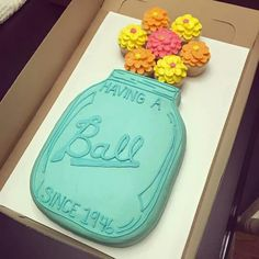 Mason Jar Having A Ball Cake With Cupcake Flowers And Other Great Cake Ideas So Cute Want