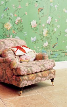 Spring green floral wallpaper with peach chair, Sherwin Williams Organic Green