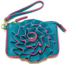 Jazzed Faux Leather Turquoise Spring Flower Wristlet Purse