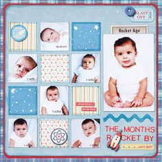 Design by Izzy Anderson Chronicle month-by-month changes with a grid pattern. Alternate squares of fun paper patterns with pictures. Include a larger recent image of your child to break up the page.   SOURCES: Cardstock: Bazzill Basics Paper. Patterned paper: October Afternoon. Stickers: BasicGrey (letters), October Afternoon (all other). Die cuts, charm, button: October Afternoon. Twine: The Twinery. Ink: Ranger Industries./