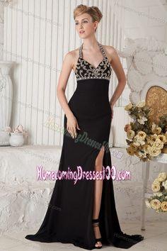 Halter High Slit Black Beaded Brush Designer Homecoming Dresses