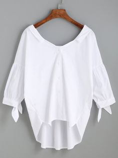 White High Low Tie Sleeve Bow Back Blouse