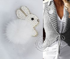 #Beaded #Pompom #Bunny #Brooch #Pins #Jewellery