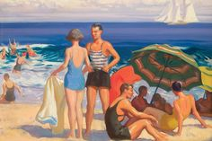 Aiden Lassell Ripley, Beach Scene, ca. Oil on artist's board. Reflections on Water in American Painting currently on display at the Morris Museum of Art Vintage Couples, Vintage Girls, Seaside Art, I Love The Beach, Beach Scenes, Summer Art, Beach Day, Love Art, Strand