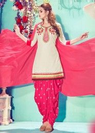 Casual Wear Cream Cotton Embroidered Work Patiala Suit