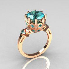 Modern Renaissance Anahit Collection 18K Rose Gold 3.0 Carat Aquamarine Solitaire Wedding Ring R303-18RGAQ. $949.00, via Etsy.