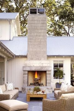 Transitional Outdoor Fireplace