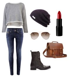 tomboy/femme style. The beanie, the leather bag and the lipstick are my favorite parts