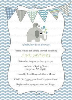 elephant baby boy shower invitation bluegreen bunting shower invitations digital printable file