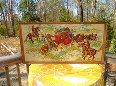 VTG 1950s MID Century Western Cowboy Stagecoach Fabric Framed Wall Art Panel