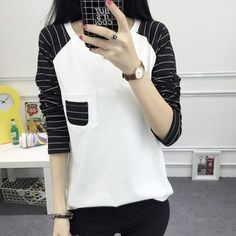 Buy Ashlee Long-Sleeve Striped Panel T-Shirt at YesStyle.com! Quality products at remarkable prices. FREE WORLDWIDE SHIPPING on orders over US$ 35.