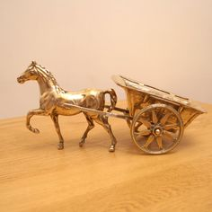 Brass Horse Pulling a Carriage  Sculpture by UKAmobile on Etsy