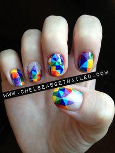 Multi-color, rainbow, Gay Pride, Geometric, Color Blocking Nail Art