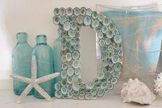 Beach House Seashell Decor Limpet Shell Sign Letter Monogram - Aqua