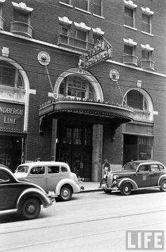 Hotel Muehlebach, is now the Marriott Muehlebach. This shot is facing SW from 12th & Baltimore. 1938