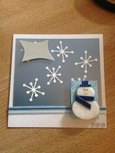 Christmas card using thin cuts sparkle 2, ribbon and a snowman embellishment