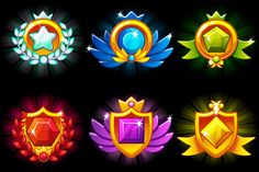 Awards Shield and Gems large set by BabySofja on Game Ui Design, Web Design, Icon Design, Flat Design, Free Vector Images, Vector Free, Shield Icon, Badge Icon, Gaming Banner