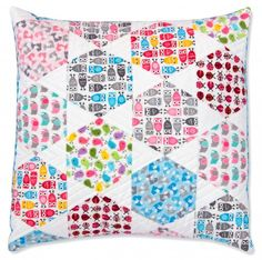 """Candy Dish Pillow"" designed by Jaybird Quilts. Features Kona Cotton, American Made Muslin, and Urban Zoologie Minis. Charm Friendly."